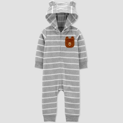 Baby Boys' Bear Fleece Hood Romper - Just One You® made by carter's Gray 3M