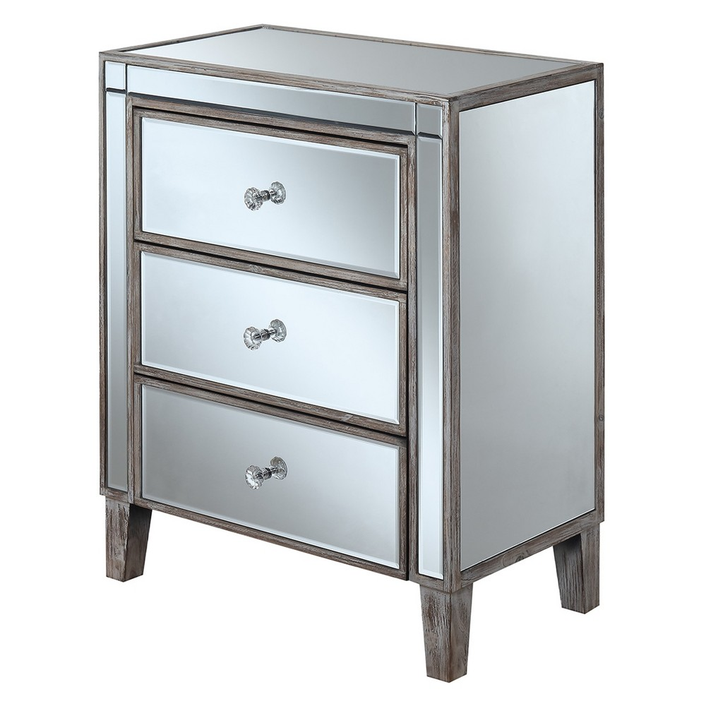 Gold Coast 3 Drawer Mirrored End Table Weathered White/Mirror - Johar