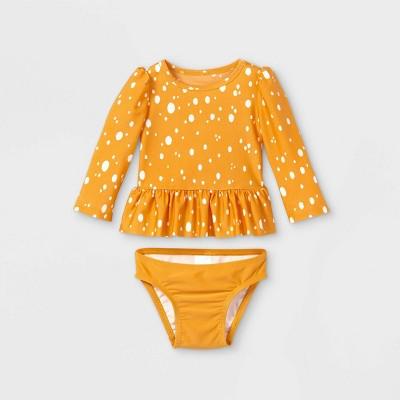 Baby Girls' 2pc Ruffle Dot Rash Guard Set - Cat & Jack™ Yellow