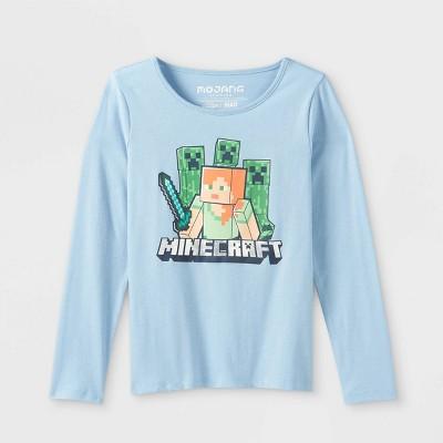 Girls' Minecraft Long Sleeve Graphic T-Shirt - Blue