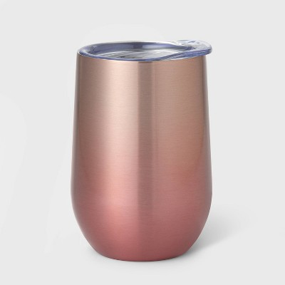 11oz Double Wall Stainless Steel Vacuum Wine Tumbler with Lid Pink Ombre - Room Essentials™