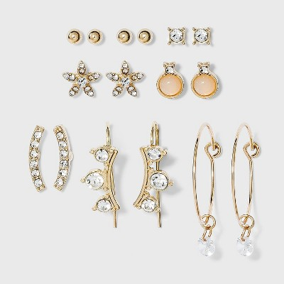 Charm Hoop, Stud and Ear Climber Earring Set 8pc - A New Day™