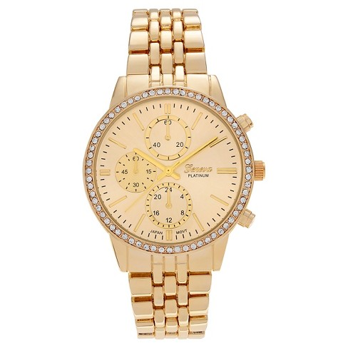 Women's Geneva Platinum Rhinestone Accent Bezel Panther Link Watch - image 1 of 3