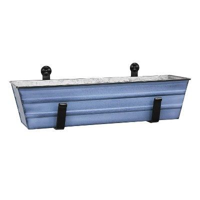 Small Galvanized Metal Rectangular Planter Box with Brackets - Blue - ACHLA Designs
