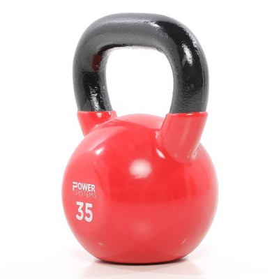 Power Systems Premium Vinyl Covered Cast Iron Kettlebell Prime Home Gym Exercise Weight Training Accessory, 35 Pounds, Red