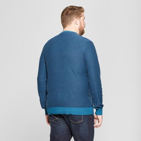 6a6e6a3cfd Men s Big   Tall Striped Long Sleeve V-Neck Sweater - Goodfellow   Co™ Blue    Target