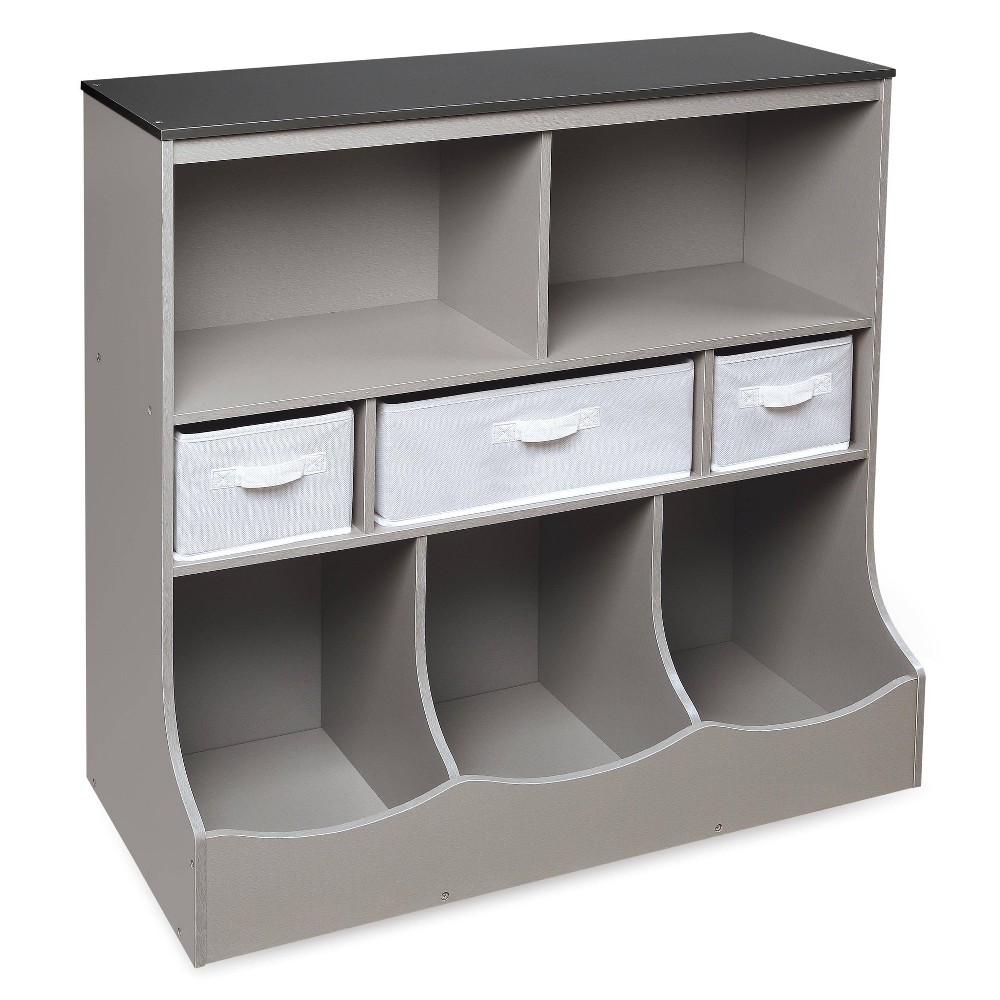 Badger Basket Combo Bin Storage Unit With 3 Baskets Gray