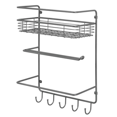 mDesign Metal Wall Mount Paper Towel Holder with Storage Shelf/Hooks