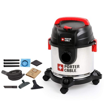 PORTER-CABLE PCX18301-4B 4 Gallon 4 Peak Horsepower Portable Wet and Dry Vacuum Cleaner with Swivel Caster Wheels and Attachments