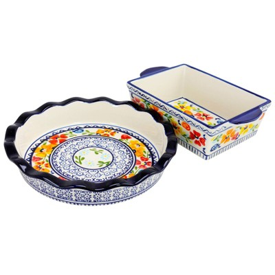 Gibson Home 2pc Stoneware Luxembourg Pie Dish Bakeware Set