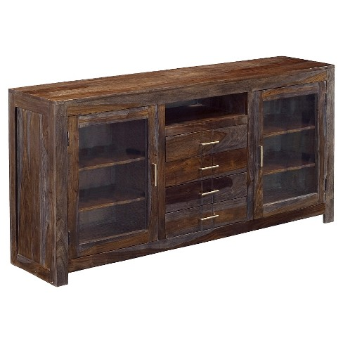 Four Drawer Two Door Media Console Gray - Treasure Trove - image 1 of 2