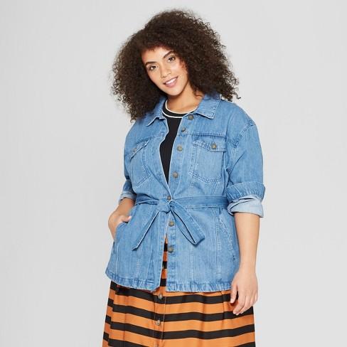 a92695cba26f1c Women s Plus Size Front Pockets Belted Denim Jacket - Who What Wear™ Indigo  Blue