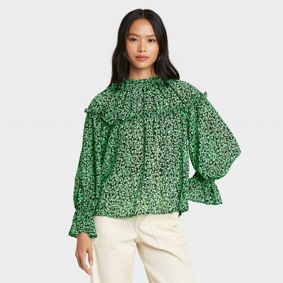 Women's Printed Balloon Long Sleeve Blouse - Who What Wear™ Green