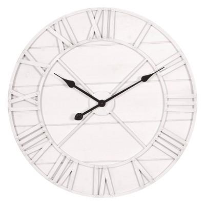 "24"" Monochromatic Whitewash Roman Numerical Wall Clock Metal/Washed Wood - Patton Wall Decor"