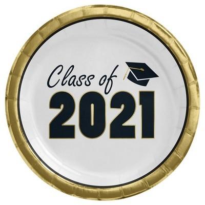 20ct Graduation 'Class of 2021' Disposable Dinner Plates White - Spritz™