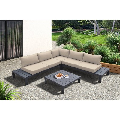 4pc Razor Outdoor Sectional set in Dark Gray Finish and Gray Cushions - Armen Living
