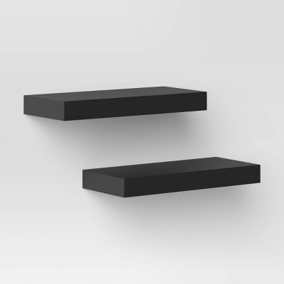 "Set of 2 16"" Wood Ledge Wall Shelf - Threshold™"
