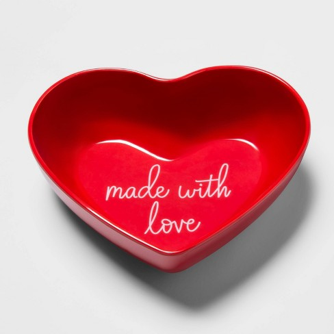 24oz Melamine Made With Love Heart Shaped Bowl Red - Opalhouse™ - image 1 of 1