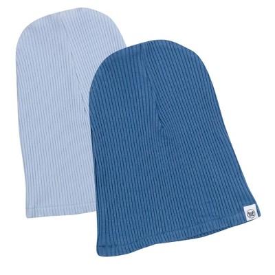 Honest Baby Boys' 2pk Organic Cotton Chunky Rib Beanie - Blue