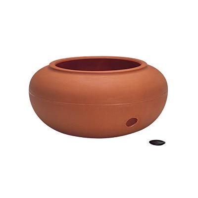 The HC Companies 21 Inch Plastic Outdoor Patio Garden Hose Discrete Storage Hideaway Pot for Hoses 75 to 100 Feet Long, Terra Cotta