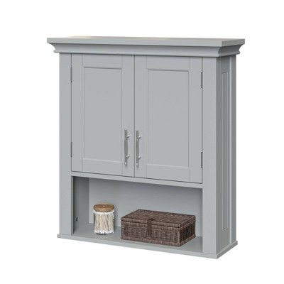 Two-Door Wall Cabinet with Open Shelf Gray - Sourcing Solutions Inc.