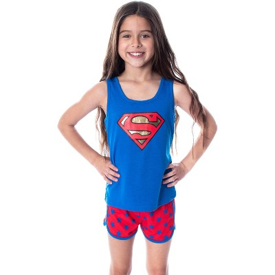 Dc Comics Girls' Superman Classic Logo Racerback Tank Shorts Pajama Set