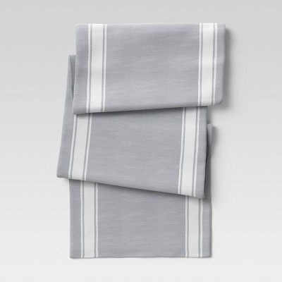 Cotton Striped Bistro Table Runner Gray - Threshold™