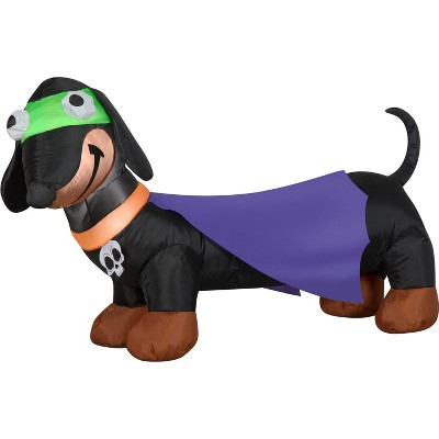 Gemmy Airblown Weiner Dog Treater w/Cape and Skull Collar, 2.5 ft Tall, Multicolored