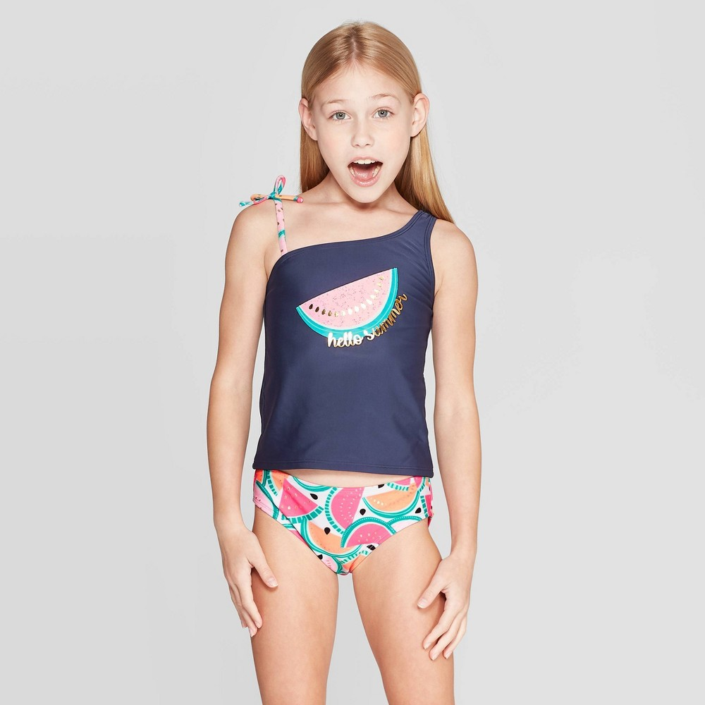a2a64f29c240a Girls Hello Summer Tankini Set Cat Jack Navy M Blue
