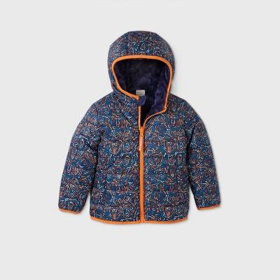 Toddler Boys' Reversible Bear Print Puffer Jacket - Cat & Jack™ Navy 12M