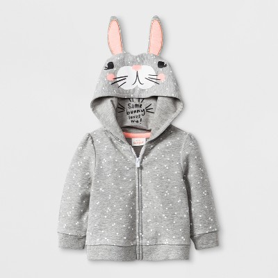 Baby Girls' Bunny Hoodie Jacket - Cat & Jack™ Gray Newborn