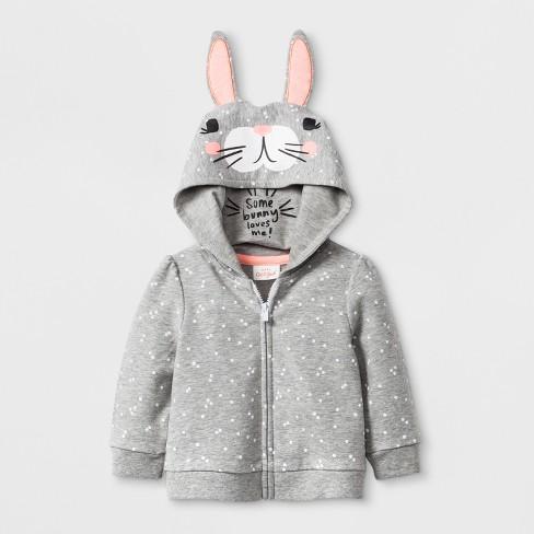 762786e416 Baby Girls  Bunny Hoodie Jacket - Cat   Jack™ Gray   Target
