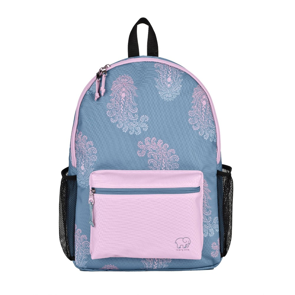 "Image of ""Ivory Ella 17"""" Lovely Paisley Backpack - Slate Blue/Magenta, Size: Small"""