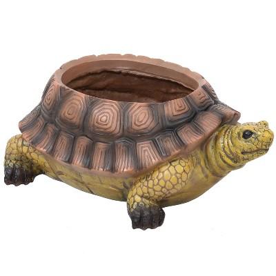 "12"" Teddy the Turtle Polyresin Planter - Sunnydaze Decor"