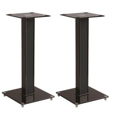 Monoprice Elements Speaker Stand - 18 Inch (Pair) With Cable Management, Strong Tempered Glass Base With Floor Spikes