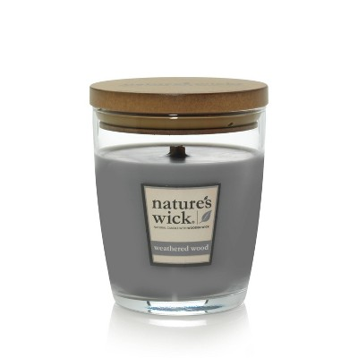 10oz Glass Jar Candle Weathered Wood - Nature's Wick