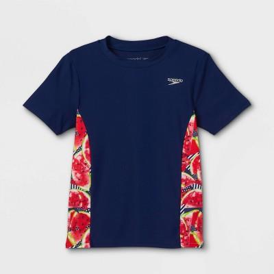 Speedo Girls' Watermelon Print Short Sleeve Rash Guard Swim Shirt - Navy