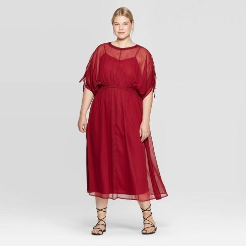 Women\'s Plus Size Elbow Sleeve Crewneck Midi Dress - Prologue™ Red 4X