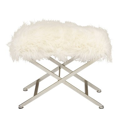 Modern Faux Fur Stool White - Olivia & May