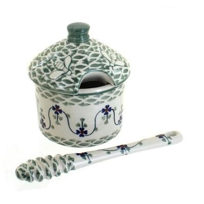 Blue Rose Polish Pottery Sage Floral Honey Pot & Dipper
