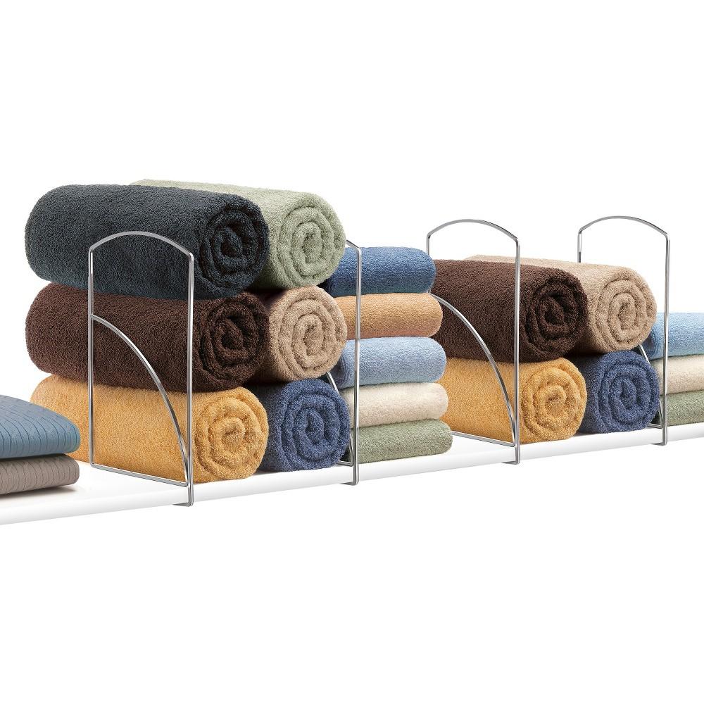 Image of Lynk Tall Shelf Dividers (Set of 4) - Closet Shelf Organizer - Chrome (Grey)