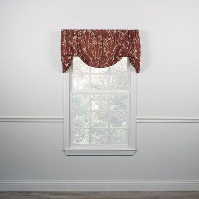 "Ellis Curtain Meadow High Quality Room Darkening Solid Natural Stylish Color Lined Tie-Up Window Valance - (50""x22"")"