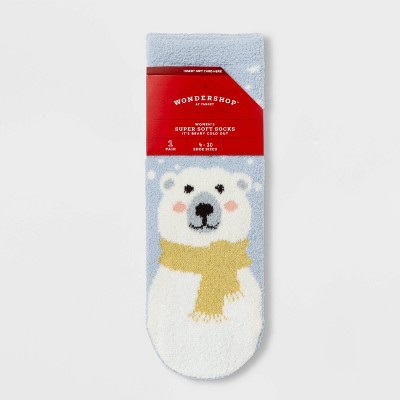 """Women's Polar Bear """"It's Beary Cold Out"""" Cozy Socks With Gift Card Holder   Wondershop™ Blue One Size by Wondershop"""