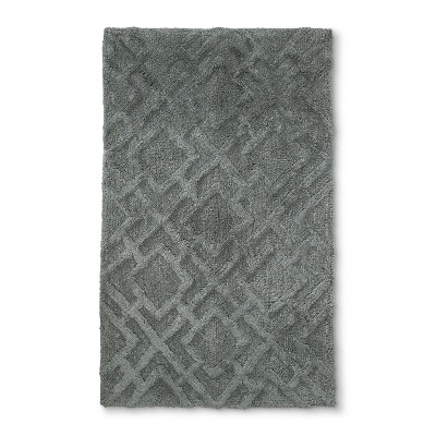 Tufted Lattice Spa Bath Rug Bath Rug Weathered Gray - Fieldcrest®