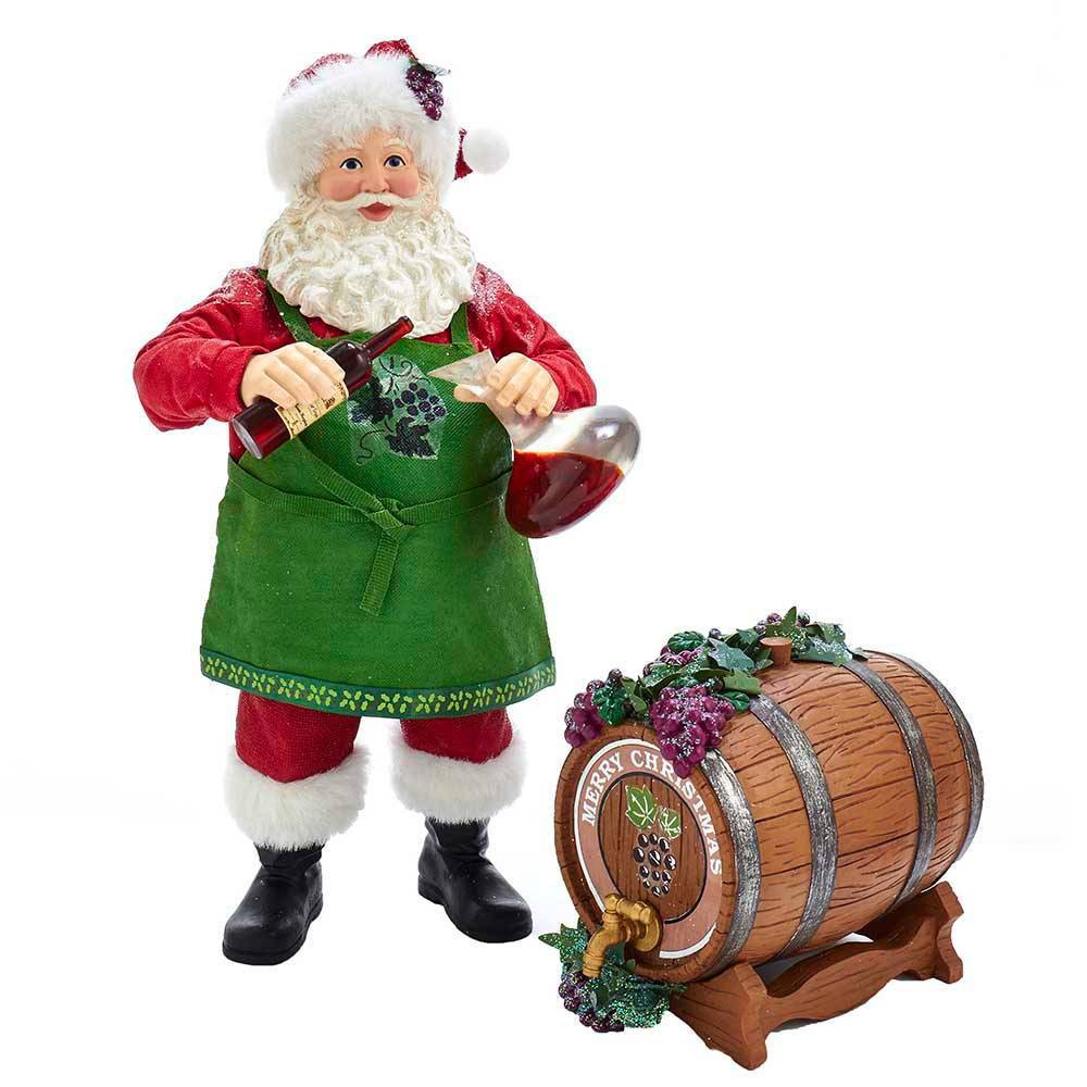 "Image of ""10.5""""/2pc Kurt Adler Wine and Barrel Santa Decorative Sculpture Set"""