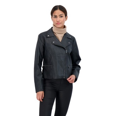 Sebby Collection Women's Faux Leather Moto Jacket