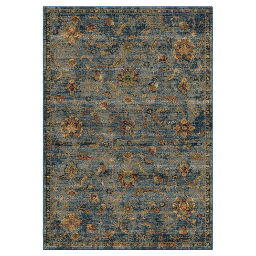 Blue Floral Woven Area Rug 7'10