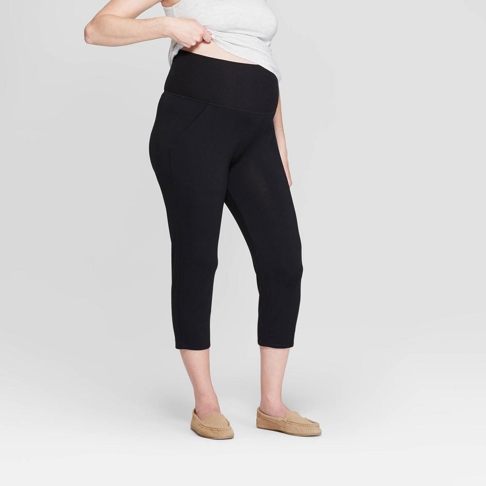Women's Beautifully Soft Crop Postpartum Pajama Pants - Stars Above Black M