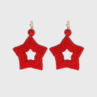 Americana Seedbead Star Earrings - Red