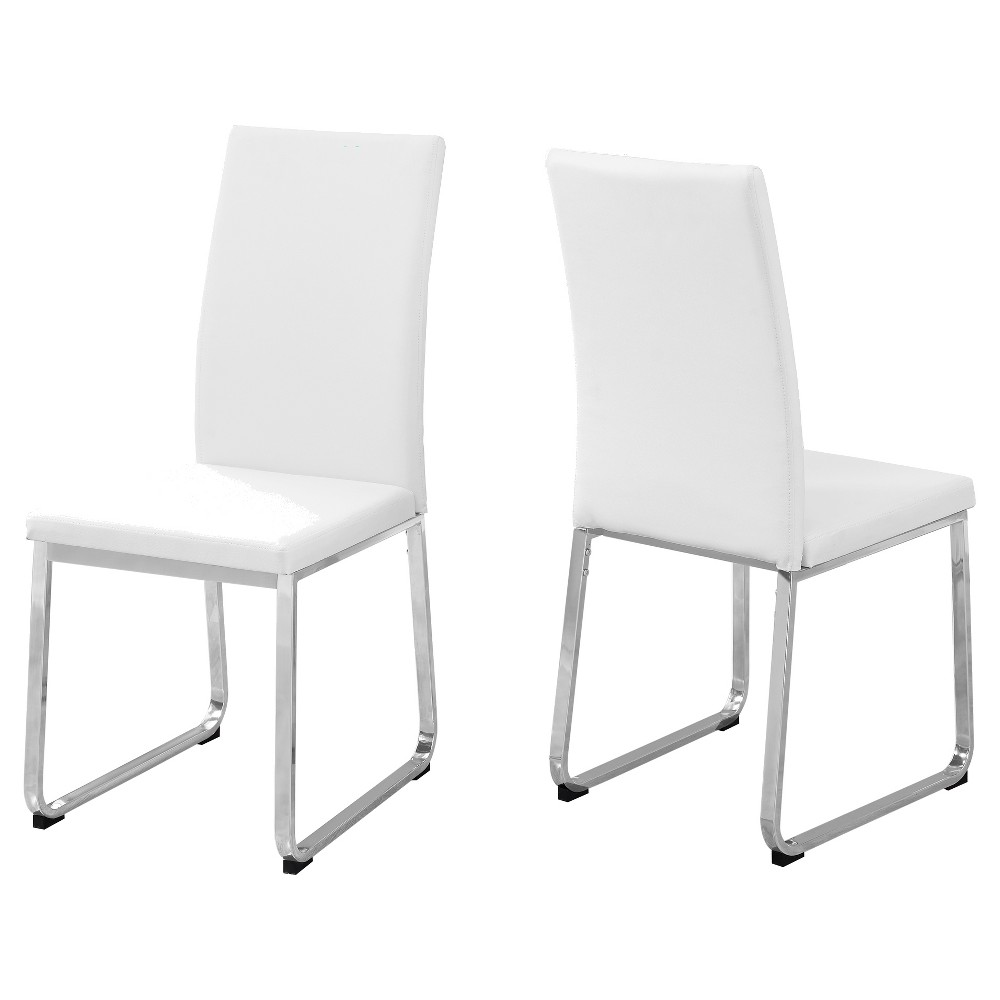 Image of Dining Chair - 2 Piece - White Leather, Chrome - EveryRoom